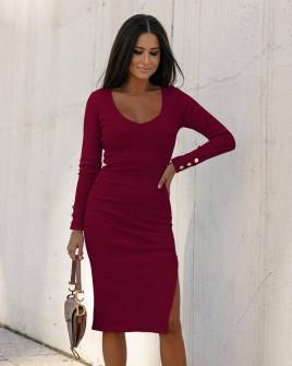 Γυναικείο εφαρμοστό φόρεμα 6020 μπορντό