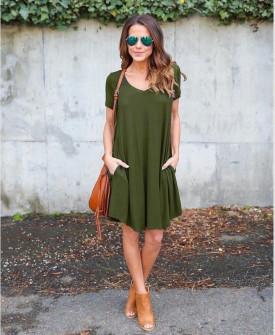 Дамска свободна рокля 13520 тъмно зелена
