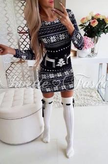 Χριστουγεννιάτικο εφαρμοστό φόρεμα 7118 μαύρο