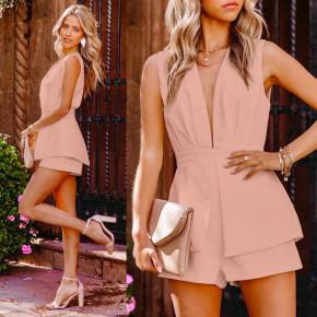 Γυναικεία κοντή ολόσωμη φόρμα 3619 ροζ