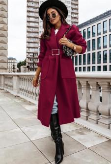 Γυναικείο μακρύ παλτό με ζώνη 8650 μπορντό