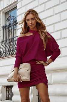 Γυναικείο σετ φούστα και μπλούζα 3495 μπορντό