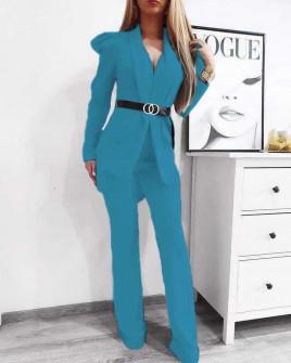 Γυναικείο σετ με σακάκι και παντελόνι 9808 γαλάζιο