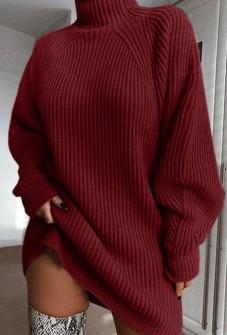 Χαλαρό πλεκτό μπλουζοφόρεμα 00806 μπορντό