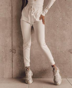 Γυναικείο αθλητικό ψηλόμεσο παντελόνι 4428 άσπρο