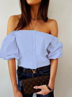 Γυναικεία έξωμη μπλούζα 35822 γαλάζια