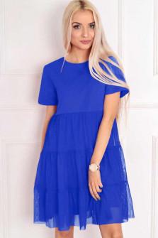 Γυναικείο φόρεμα με τούλι  στο κάτω μέρος 5060 μπλε