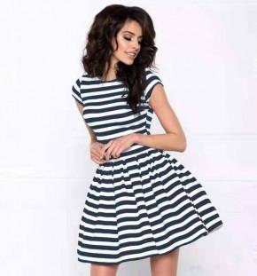 Γυναικείο φόρεμα ριγέ 21683 μαύρο