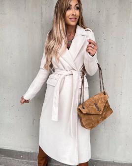 Γυναικείο μακρύ παλτό με ζώνη και φόδρα 6056 εκρού