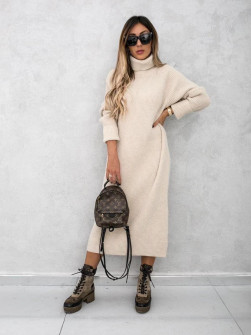 Πλεκτό μακρύ φόρεμα 00809 μπεζ