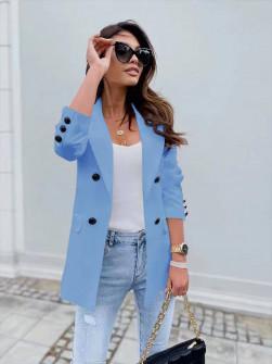 Γυναικείο σακάκι με φόδρα 5863 γαλάζιο
