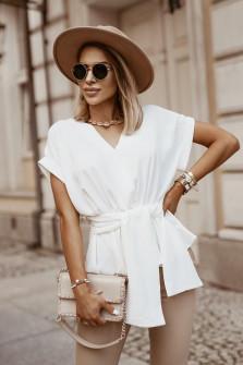 Γυναικεία μπλούζα με δέσιμο στη μέση 5226 άσπρη