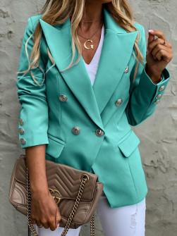 Γυναικείο σακάκι με χρυσά κουμπιά 3909 μέντα