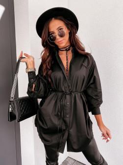 Γυναικεία πουκαμίσα με κορδόνι 3171 μαύρη