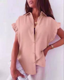 Γυναικείο χαλαρό πουκάμισο 54991 ροζ