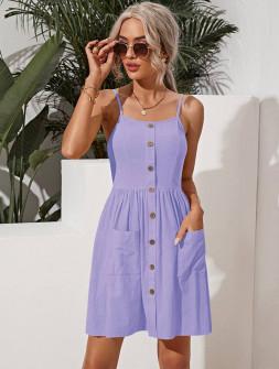 Γυναικείο φόρεμα με κουμπιά 5799 λιλά