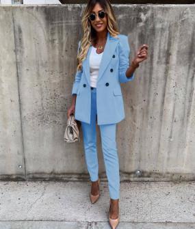 Γυναικείο σετ σακάκι και παντελόνι 5927 γαλάζιο