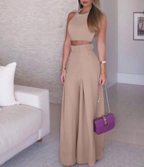 Γυναικείο σετ τοπάκι και παντελόνι με ζώνη 908990 μπεζ