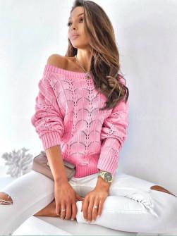 Γυναικείο μονόχρωμο πουλόβερ 8022  ροζ