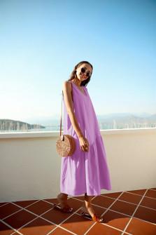 Γυναικείο μακρύ χαλαρό φόρεμα 5186 μωβ