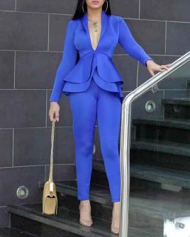 Γυναικείο σετ σακάκι και παντελόνι 1932 μπλε