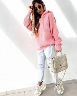 Γυναικεία πλεκτή μπλούζα με κουκούλα 00828 ροζ