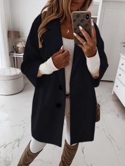 Γυναικείο παλτό με 7/8 μανίκι και φόδρα 3809 μαύρο