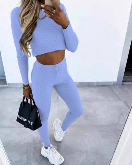 Γυναικείο σετ κολάν και μπλούζα 3517 γαλάζιο