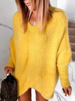 Γυναικείο χνουδωτό μπλουζοφόρεμα 5351 κίτρινο