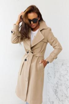 Εντυπωσιακό παλτό με φόδρα 5415 μπεζ