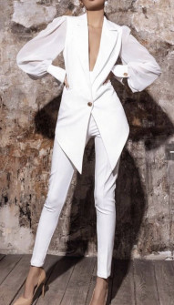 Γυναικείο κομψό σετ σακάκι και παντελόνι 2518 άσπρο