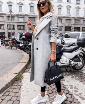 Γυναικείο μακρύ παλτό με φερμουάρ εσωτερικό και φόδρα 6072 γκρι
