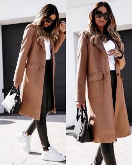 Γυναικείο παλτό μίντι με φόδρα 5361 καμηλό
