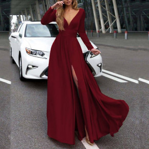 Γυναικείο μακρύ φόρεμα 37421 μπορντό