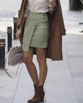 Γυναικεία βελουτέ φούστα 20118 πράσινη