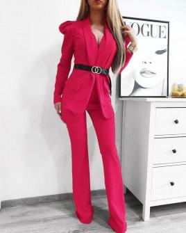 Γυναικείο σετ με σακάκι και παντελόνι 9808 φούξια