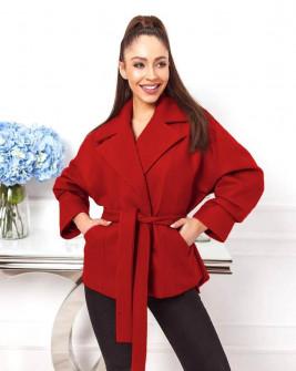 Γυναικείο κοντό παλτό με ζώνη 8252 κόκκινο