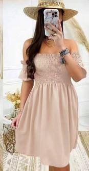 Γυναικείο φόρεμα με σφηκοφωλιά 5727 μπεζ