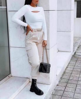 Γυναικείο παντελόνι με τσέπες και χρυσό αξεσουάρ 21021 μπεζ