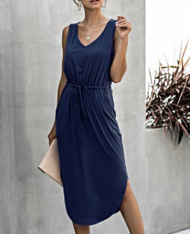 Γυναικείο μίντι φόρεμα 2386 σκούρο μπλε