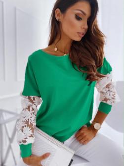 Γυναικεία μπλούζα με δαντέλα 19636 πράσινη