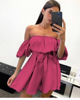 Γυναικείο έξωμο φόρεμα 44587 φούξια