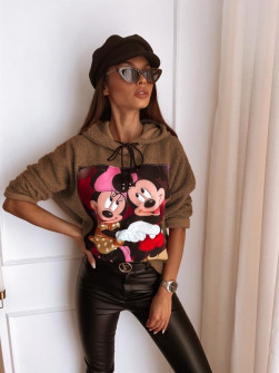 Γυναικεία χνουδωτή μπλούζα με στάμπα 13786 καμηλό