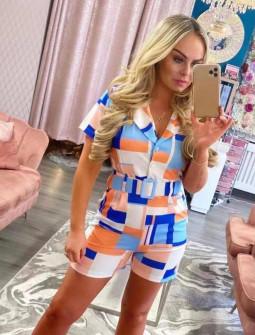 Γυναικεία πολύχρωμη ολόσωμη φόρμα με ζώνη 582702