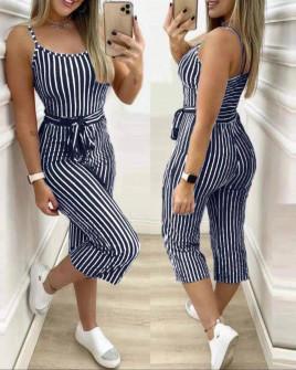 Γυναικεία ολόσωμη φόρμα ριγέ 3015 σκούρο μπλε