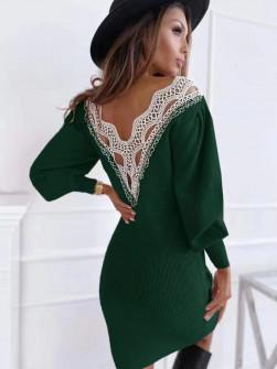 Γυναικείο φόρεμα με εντυπωσιακή πλάτη 3256 πράσινο