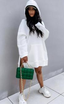Γυναικείο μπλουζοφόρεμα με κουκούλα 4780 άσπρο
