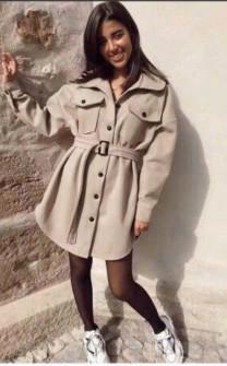 Γυναικείο παλτό βελουτέ 5322 μπεζ