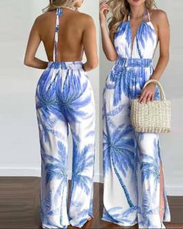 Γυναικεία ολόσωμη φόρμα με εντυπωσιακό ντεσέν 5463 μπλε