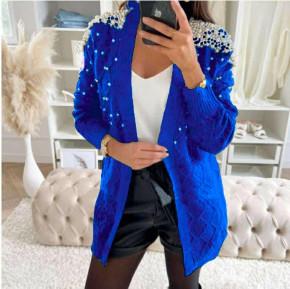 Γυναικεία εντυπωσιακή ζακέτα με πέρλες 3453 μπλε